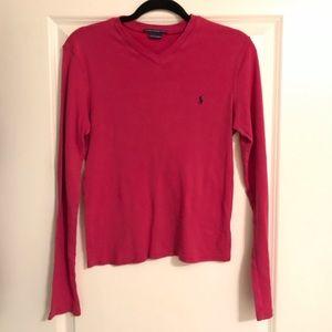 Ralph Lauren Sport long sleeve v neck blouse top